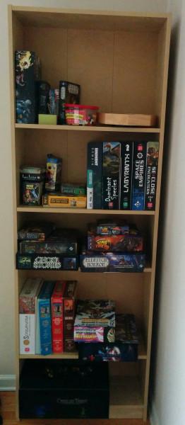 Board gaming shelf
