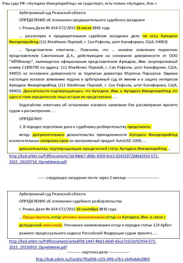 В апостилированной Легализации подписи  из Швейцарии фальсификация - Решение суда РФ и признание в суде самого лже представителя  Рязань Дело № А54-572/2015 10 сентября 2015 года - Аутодеск Инкорпорейтед  не существует, есть только  Аутодеск, Инк.
