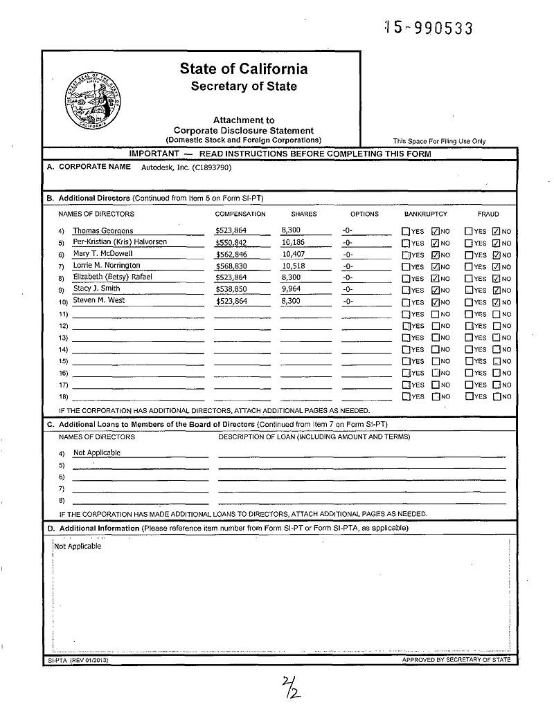 стр 2 PUBLICLY TRADED DISCLOSURE Калифорнии 24 июня 2015 года - нет Kevin Lara среди руководителей (директоров) Аутодеск, Инк. с № С1893790 из штата Калифорния. Вообще нет !