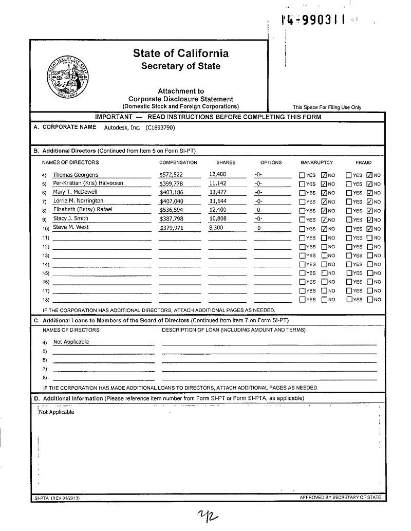стр 2 PUBLICLY TRADED DISCLOSURE Калифорнии 22 мая 2014 года - нет Kevin Lara среди руководителей (директоров) Аутодеск, Инк. с № С1893790 из штата Калифорния. И вообще нет !