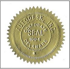Золотая корпоративная печать корпорации Autodesk,Inc. из штата Делавэр (США) - corporate seal оf Autodesk,Inc.