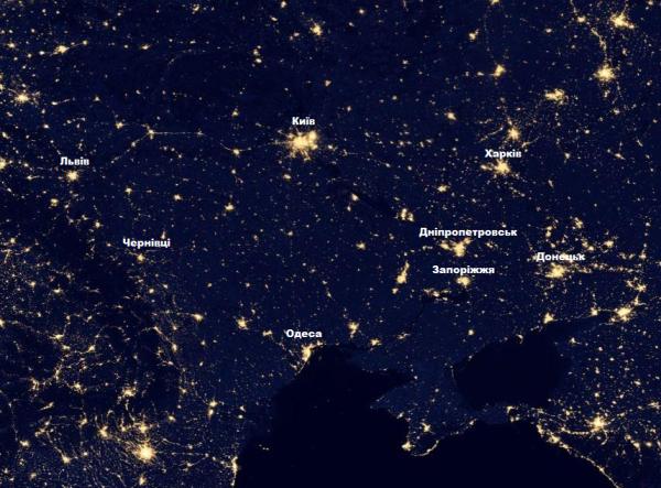 Україна вночі