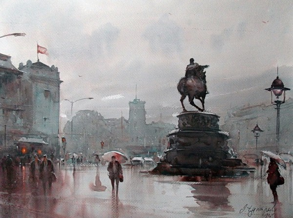 dusan-djukaric-on-square-at-2-p-m-watercolor-74x54-cm
