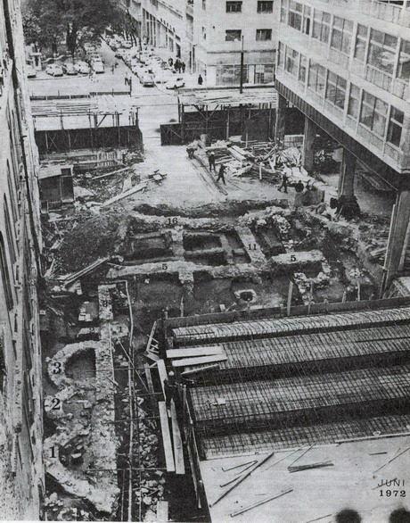 Ostaci starorimskog kupatila otkriveni prilikom izgradnje nove zgrade Filozofskog fakulteta, 1972