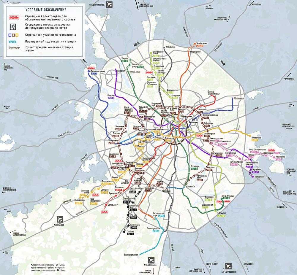 Схема метро будущем 2020