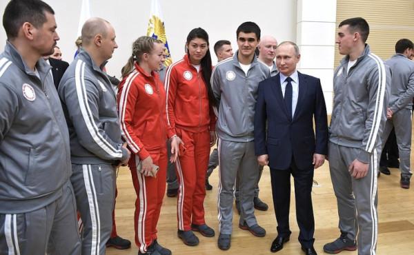 Путин и спортсмены