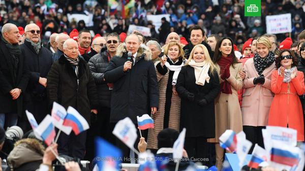 Путин на митинге