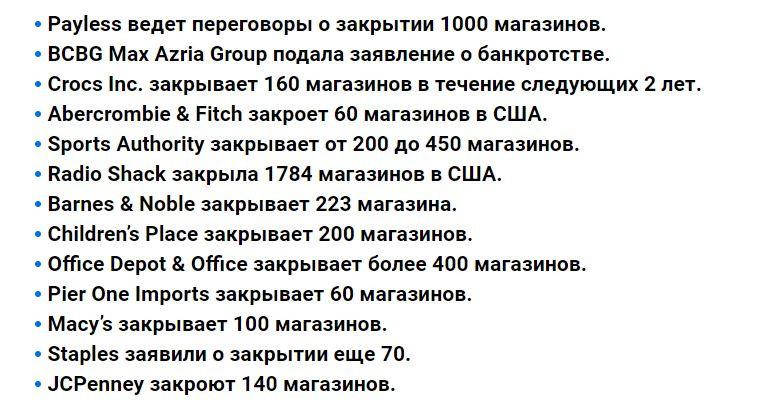 Закрытие магазинов вСША