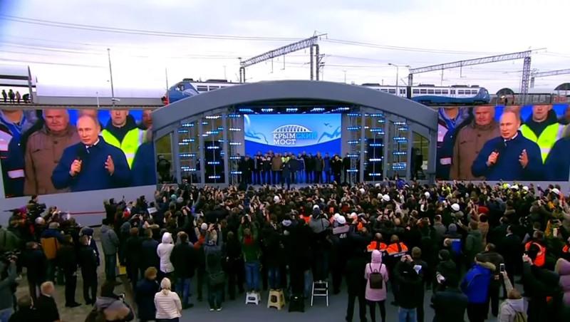 Путин на митинге открытие моста