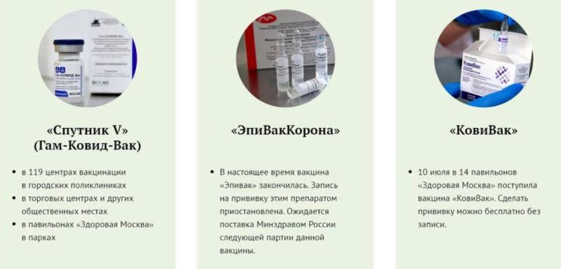 вакцины в Москве