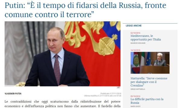 Путин в СМИ Италии