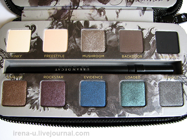 Палетка теней Urban Decay Smoked Palette swatches