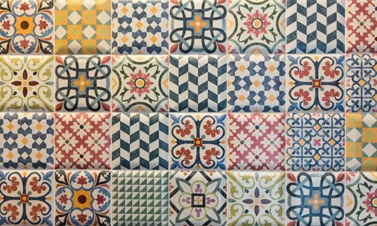 Patchwork ceramic tiles
