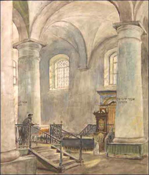 Кругер Я. Холодная синагога. Минск. 1921. акварель.