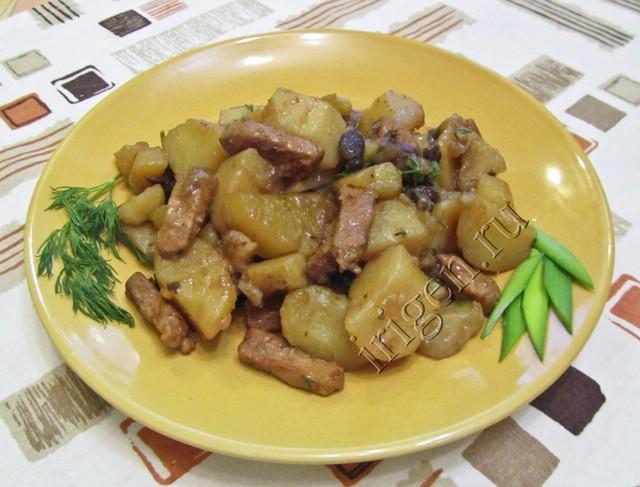 Рецепт мясо картошка грибы