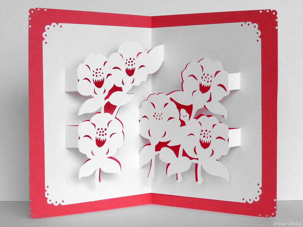 Японское киригами. Камелия