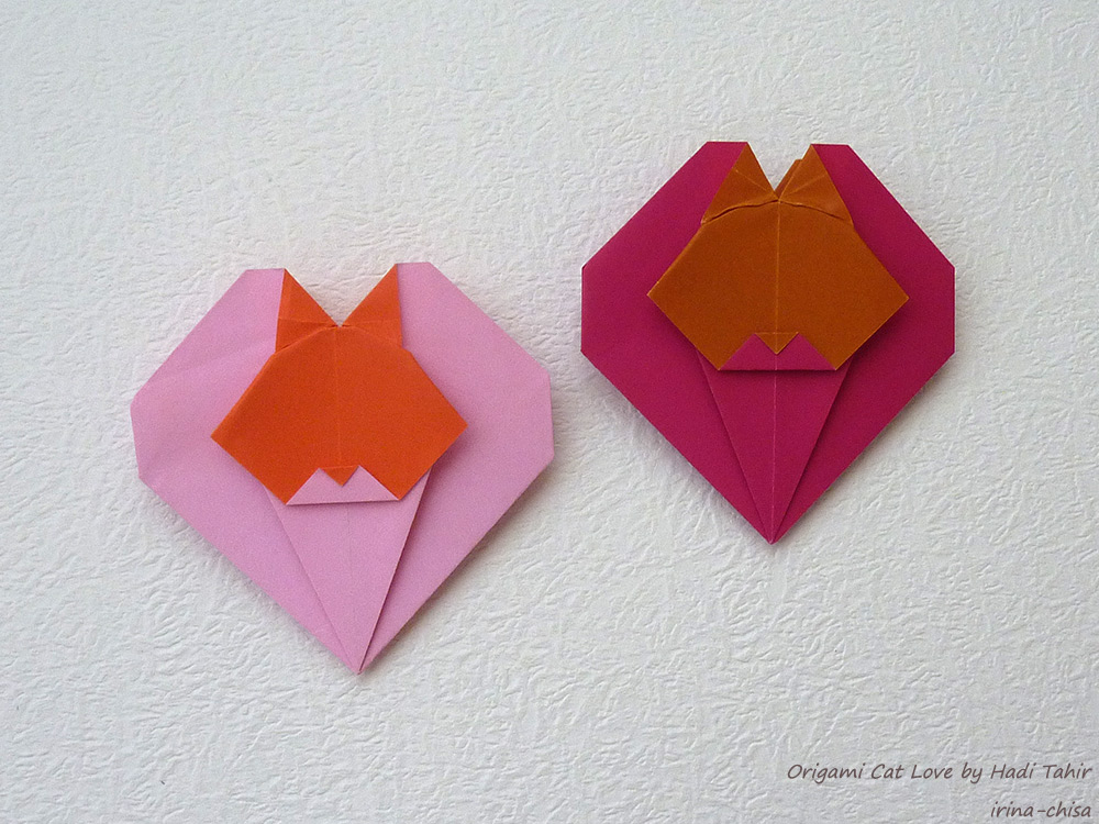 Origami Cat Love by Hadi Tahir