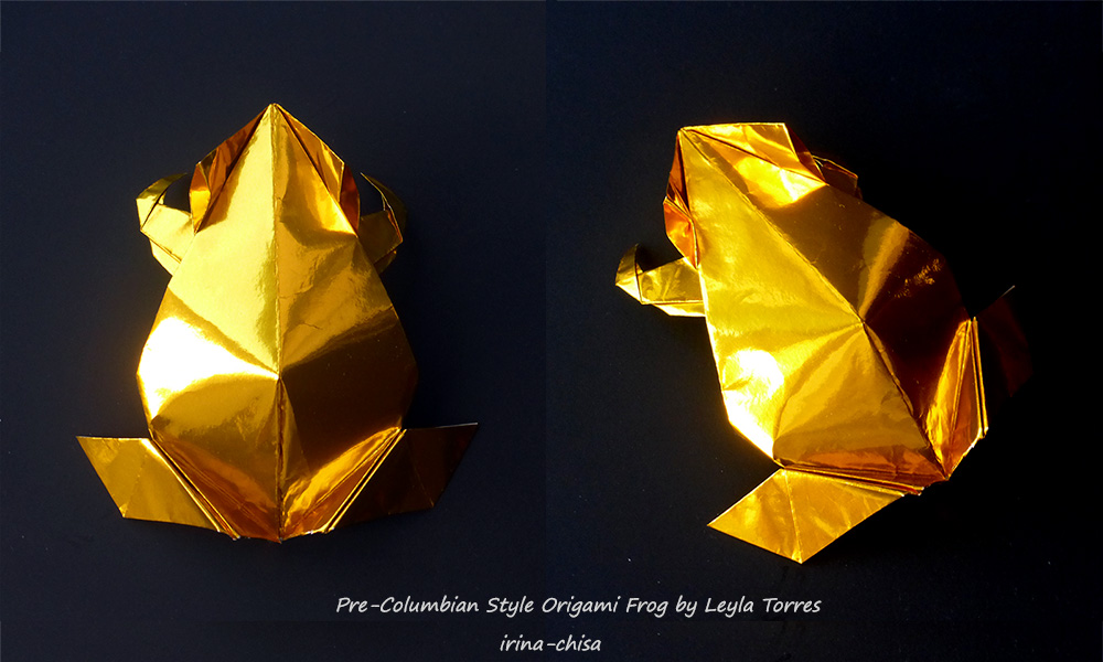 Pre-Columbian Style Origami Frog by Leyla Torres