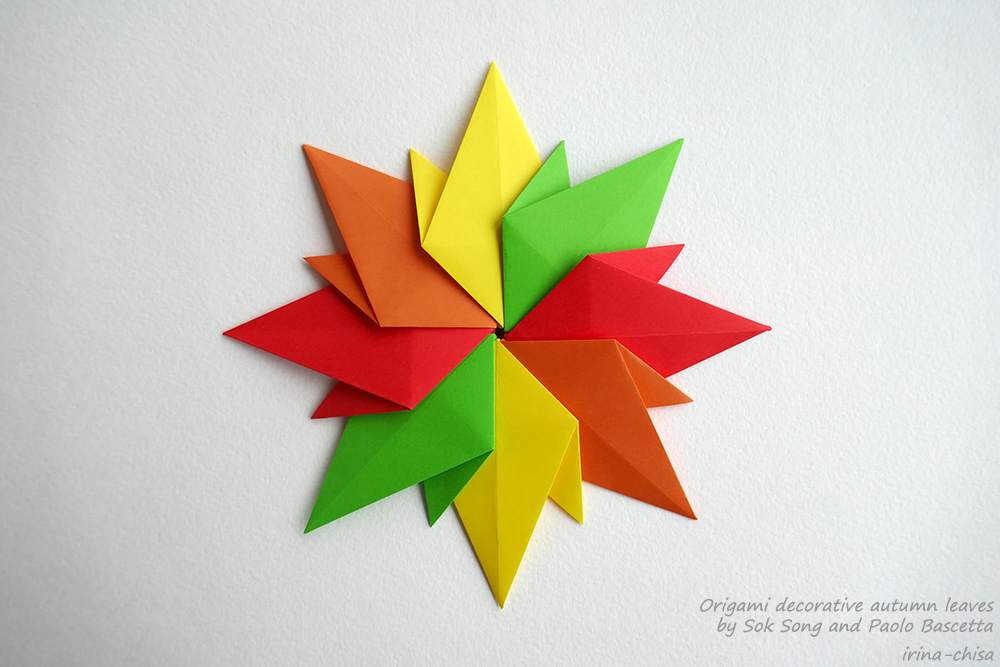 Origami decorative autumn leaves by Sok Song and Paolo Bascetta