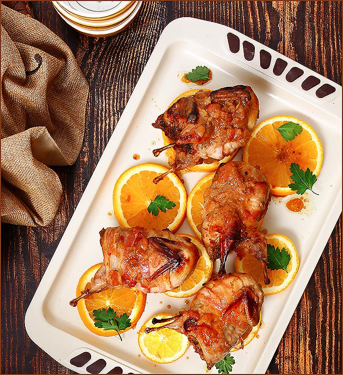 Перепелки фаршированные, маринованные в апельсиновом джеме и виски