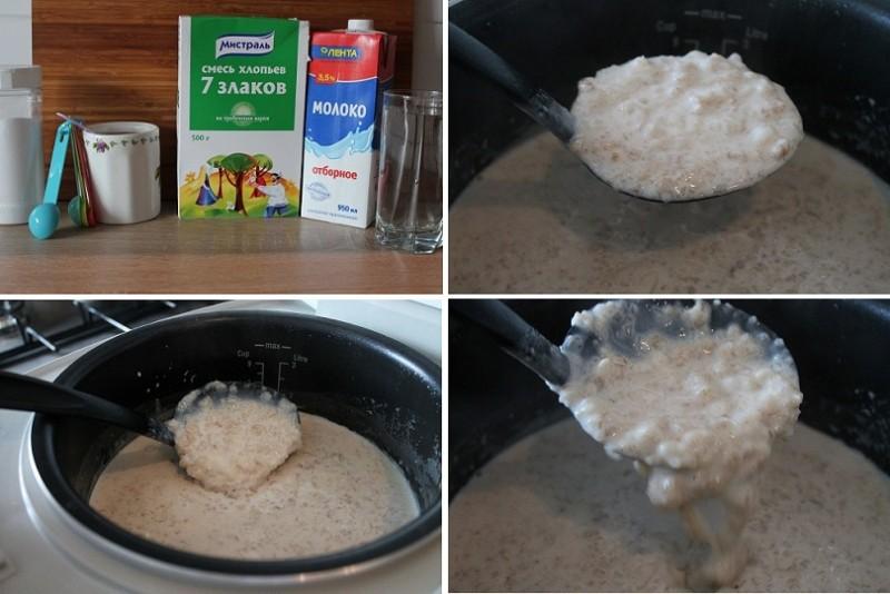 Молочная каша из овсяных хлопьев рецепт с пошагово
