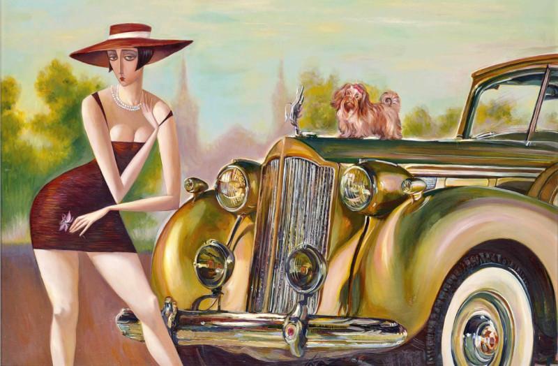 Девушка за рулем открытка