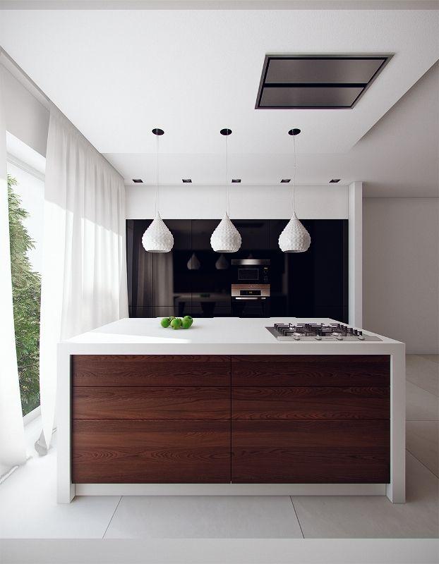 Кухня модерн с деревянными и черными фасадами