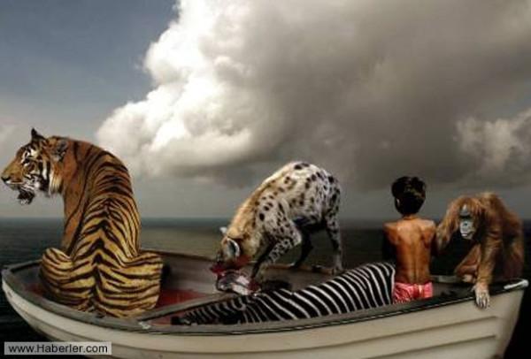 человек и тигр плыли на лодке