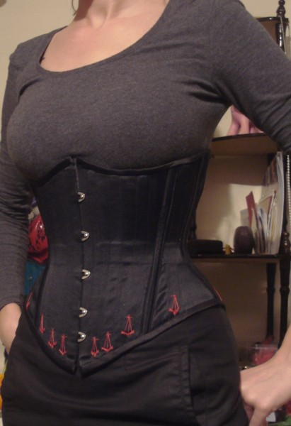 Satin black flossed corset front cropped.