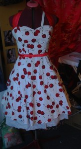 cherry halterneck dress commision