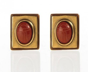 Set Scarab_Oscar de la Renta Clip On Earrings Enameled and Cabochon Scarab_55-60doll (ebay)-2