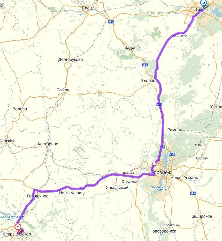 карта Старый Оскол - Липецк