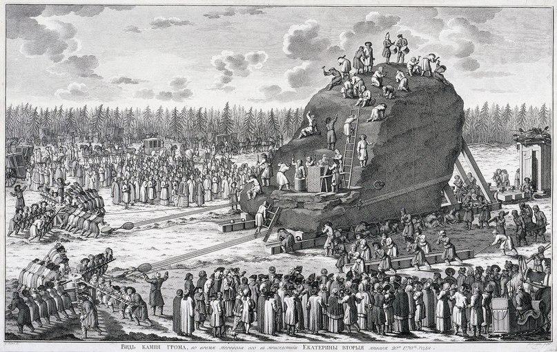 Пример транспортировки камня для Медного всадника, 1770 год.