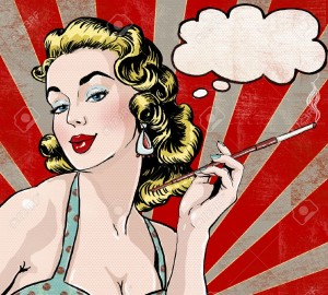 44328767-pop-art-illustration-of-woman-with-the-speech-bubble-and-cigarette-pop-art-girl-