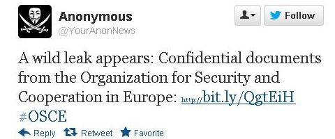 Anonymous похитили документы у ОБСЕ