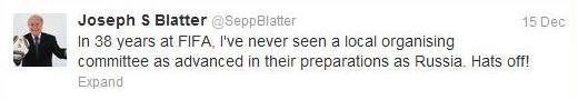 Йозеф Блаттер в твиттере: За 38 лет в ФИФА я не видел, чтобы оргкомитет сделал так много в подготовке к чемпионату мира, как Россия.  Снимаю шляпу!