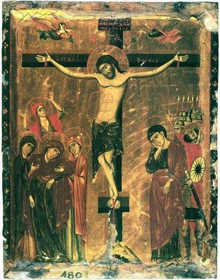 древняя икона Распятия Господня из монастыря св.вмч.Екатерины, Синай,Египет