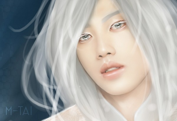 jin akanishi white haired close up