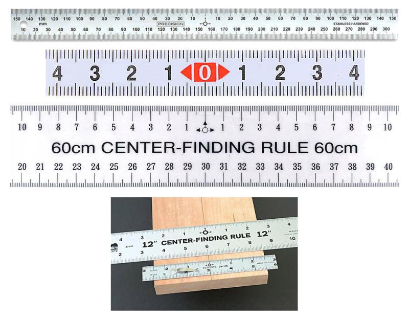 Стальная линейка с исходной точкой измерения, расположенной по середине шкалы.