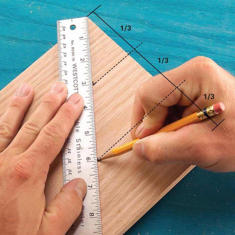 Разметка доски на равные части.