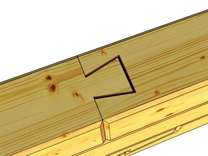 Соединение «ласточкин хвост» в стык.