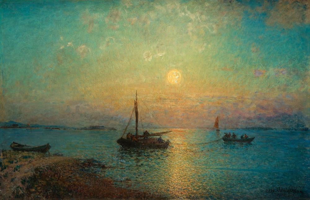 Alfred Wahlberg, The sun setting over fishing boats | Солнце садится над рыбацкими лодками  ( Bukowskis )