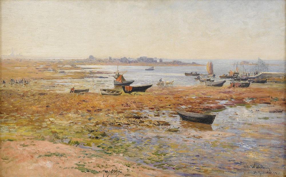 Alfred Wahlberg - Fiskebåtar vid Saint Guénolé | Рыбацкие лодки в Сен-Геноле