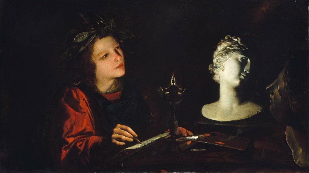 Pietro Paolini - Giovane artista al lume di una lucerna. (Молодой художник в свете масляной лампы),  1623. Boston, Museum of Fine Arts