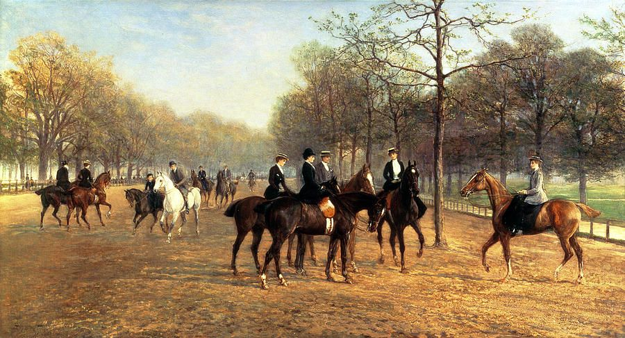 The Morning Ride, Rotten Row, Hyde Park, 1894 (oil on canvas) -  Hardy, Heywood (1842-1933)