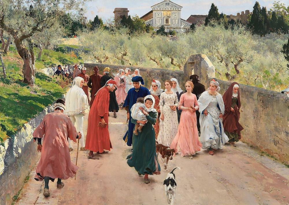 Raffaello Sorbi - L'incontro di Dante e Beatrice, 1897