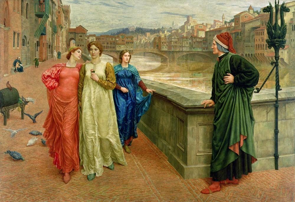 Henry Holiday  (1839–1927) -  Dante meets Beatrice at Ponte Santa Trinita