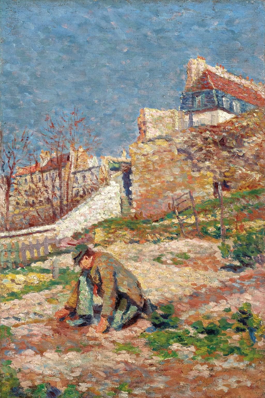 Maximilien Luce (1858-1941) Montmartre, jeune garçon devant la maison Valadon