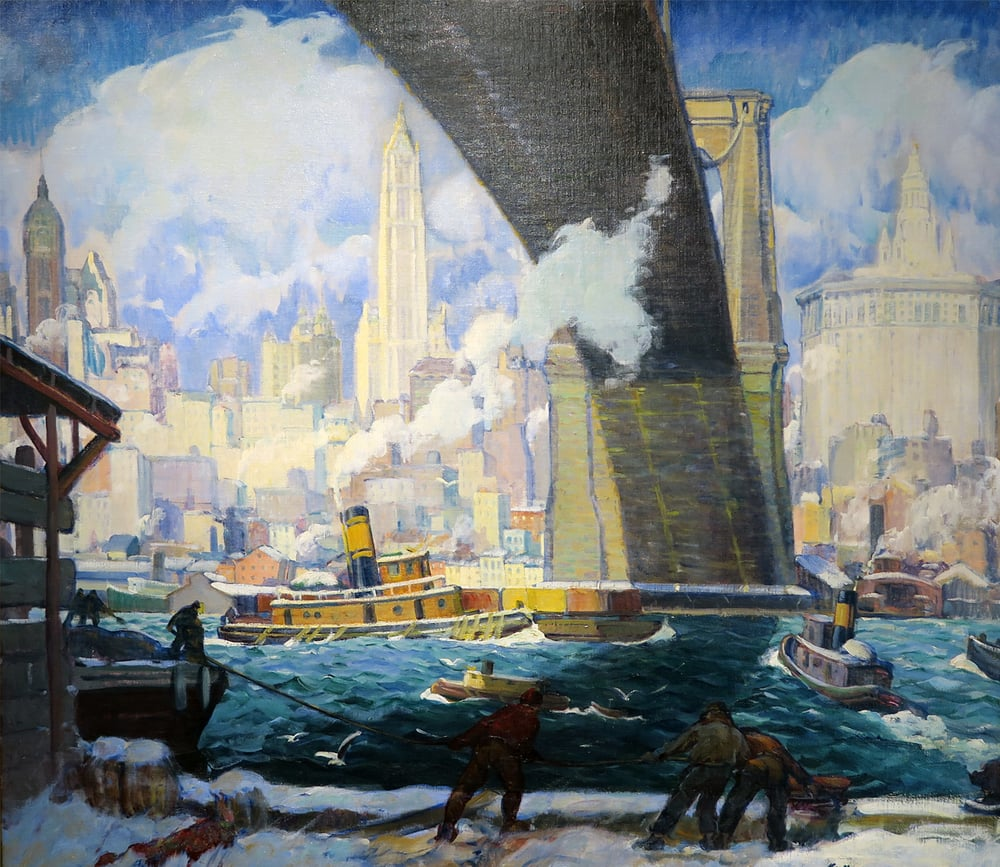 Lower New York, The Bridge in Winter, 1915