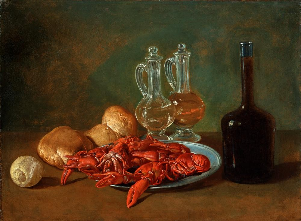 Pitocchetto (Giacomo Ceruti) - Still Life with Pewter Plate, Shrimps, a Lemon, Glass Cruets, Bread and a Bottle of Wine.   1750 - 60  (Pinacoteca di Brera)